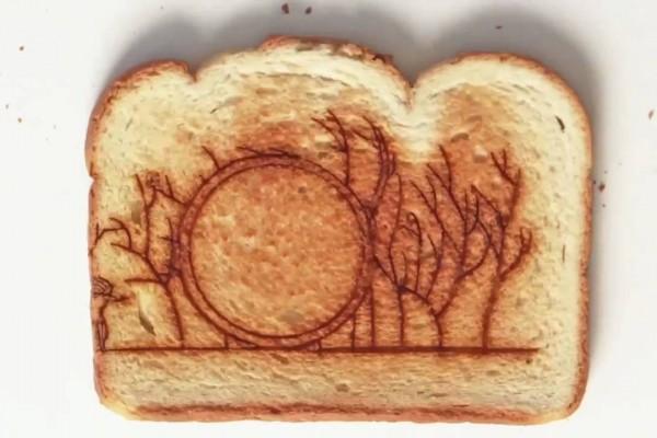 お見事!トーストに焦げ目を付けて繋いだストップモーションアニメ!