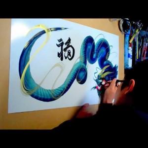 たった一筆で描かれた美しい龍の姿。思わず二度見てしまう芸術的映像