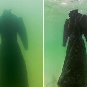 【驚きの姿に変身した…!】真っ黒なドレスを「死海」に2年間沈めておいたら→こうなった8枚