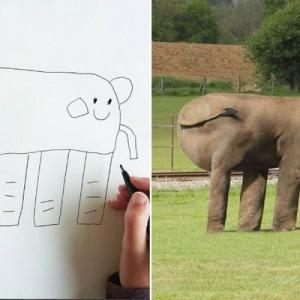 「忠実に再現した(笑)」6歳息子が描いた絵を、パパが画像加工で実写化してみたら12枚