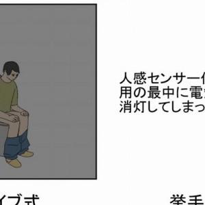 【みんなの意見が割れている】人感センサー付きトイレで電気が消える→皆さんどうしてます?(画像)