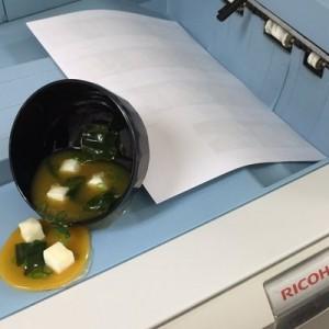 プリンターの上で大惨事!(笑)食品サンプル製造メーカーのフェイクフードが超シュール8枚