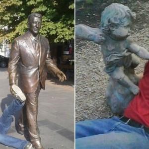 このリアクションである!(笑)銅像とコラボした人々の写真11連発