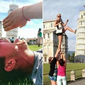 手で支えるとかベタだから!(笑)ピサの斜塔のお決まりポーズに飽きた人々11連発