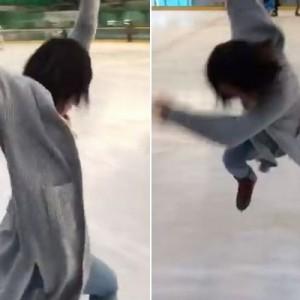 後輩、滑れないのに躊躇なくスケートリンクへ!その結果の「華麗なステップ」に爆笑の渦(笑)